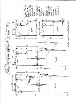 Esquema de modelagem de vestido de festa tubinho com sobreposição tamanho 48.
