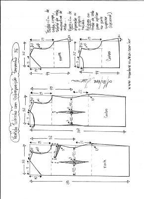 Esquema de modelagem de vestido de festa tubinho com sobreposição tamanho 56.