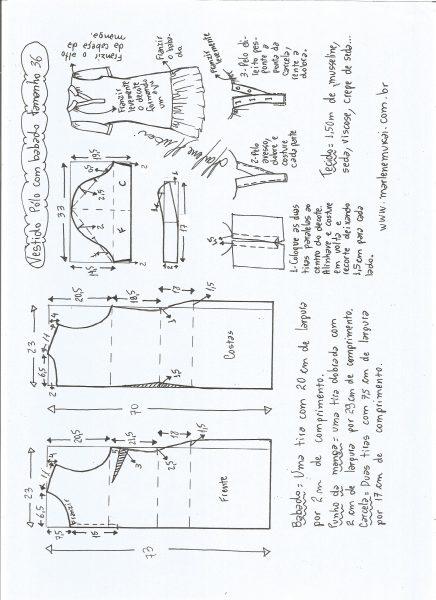 Esquema de modelagem de vestido pólo com babado na barra tamanho 36.