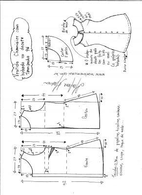 Esquema de modelagem de vestido chamesier com babado tamanho 46.