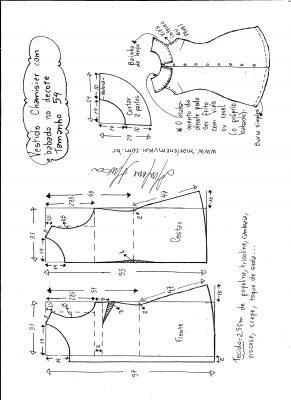 Esquema de modelagem de vestido chamesier com babado tamanho 54.