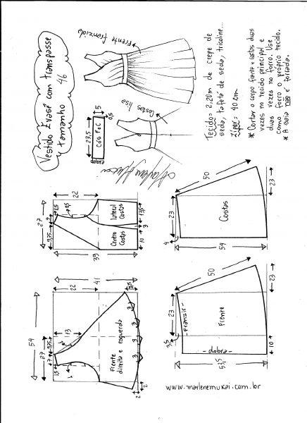 Esquema de modelagem de vestido evasê com transpasse tamanho 46.