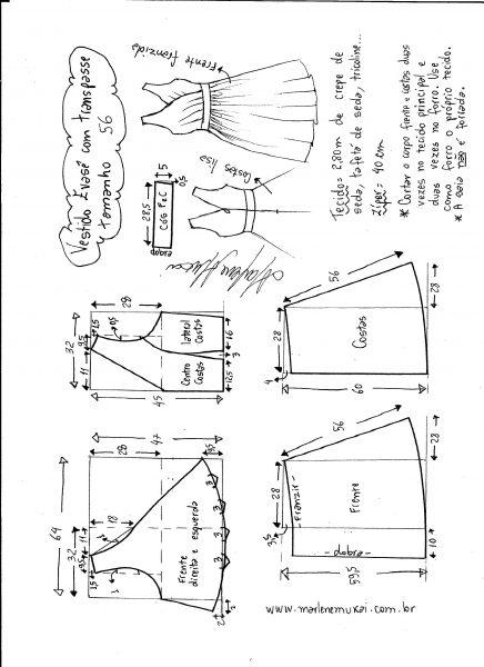 Esquema de modelagem de vestido evasê com transpasse tamanho 56.