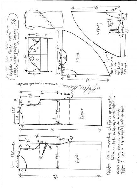 Esquema de modelagem de vestido de festa com sobreposição tamanho 36.