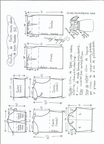 Esquema de modelagem de vestido de festa com recorte abaixo do busto tamanho 52.