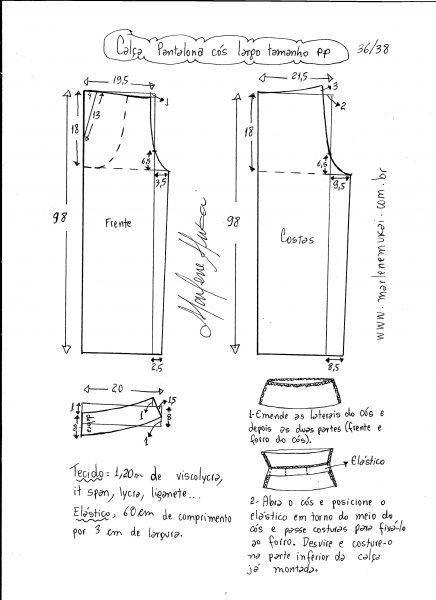 Esquema de modelagem de calça pantalona de cós largo tamanho PP.