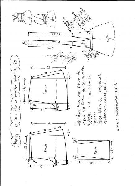 Esquema de modelagem de macaquinho de alças cruzadas tamanho 40.