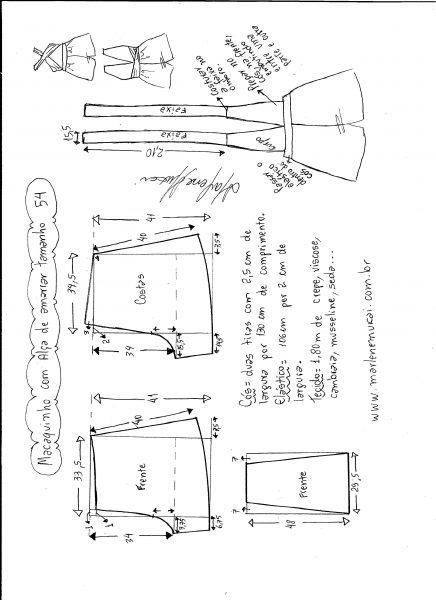 Esquema de modelagem de macaquinho de alças cruzadas tamanho 54.