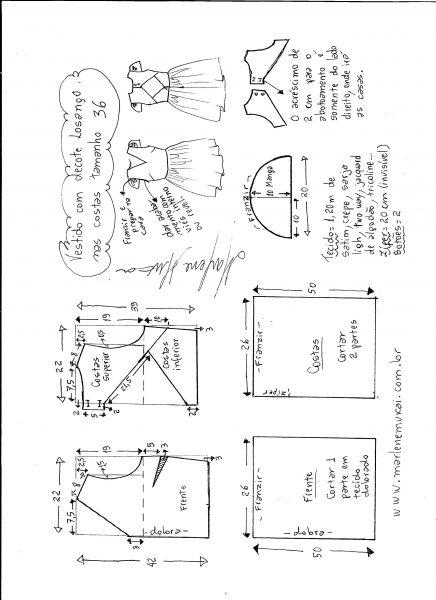 Esquema de modelagem de vestido com decote losango nas costas tamanho 36.