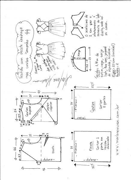 Esquema de modelagem de vestido com decote losango nas costas tamanho 44.
