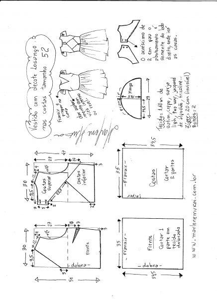Esquema de modelagem de vestido com decote losango nas costas tamanho 52.