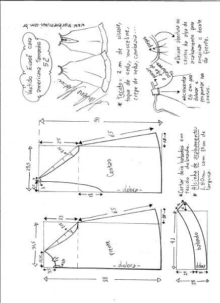Esquema de modelagem de Vestido cava americana evasê tamanho 52.