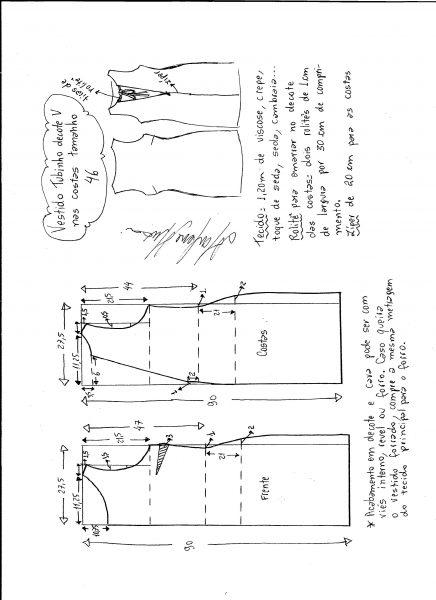 Esquema de modelagem de vestido tubinho com decote nas costas tamanho 46.