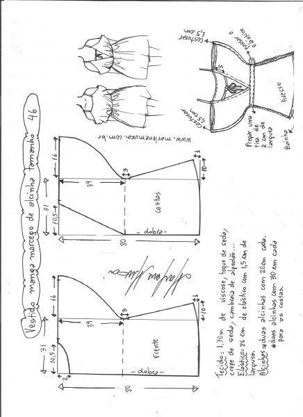 Esquema de modelagem de vestido de alcinha com manga morcego tamanho 46.