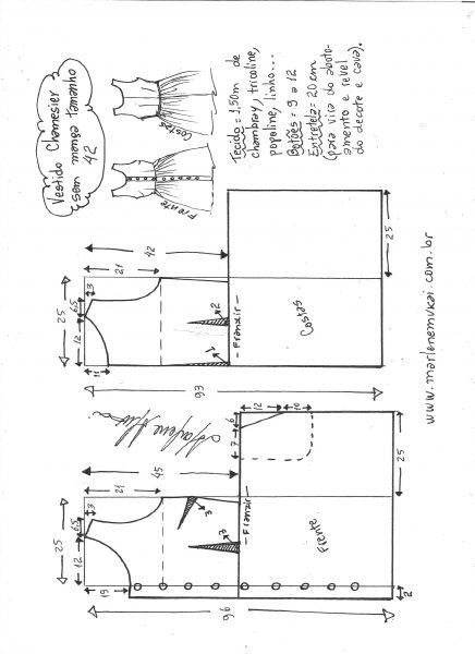 Esquema de modelagem de vestido chamisier tamanho 42.