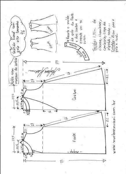 Esquema de modelagem de vestido evasê com gola alta tamanho 46.