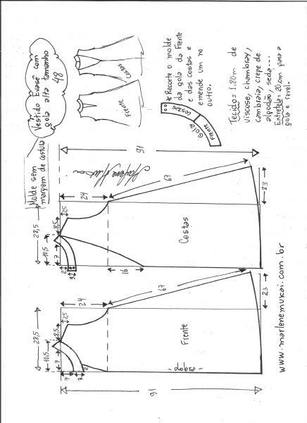Esquema de modelagem de vestido evasê com gola alta tamanho 48.