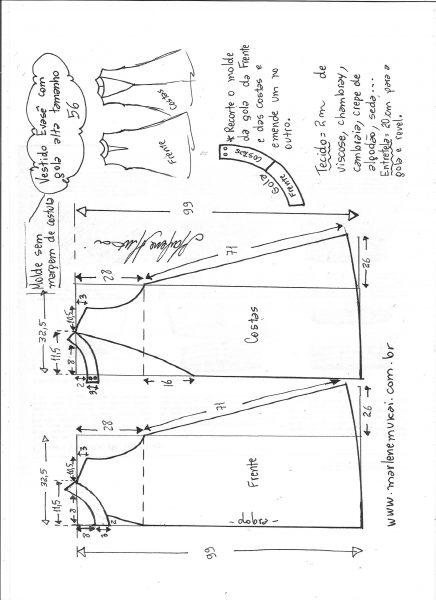 Esquema de modelagem de vestido evasê com gola alta tamanho 56.