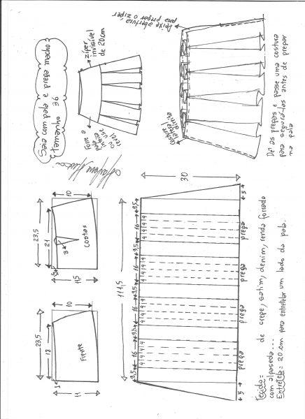 Esquema de modelagem de saia com pala e pregas macho tamanho 36.