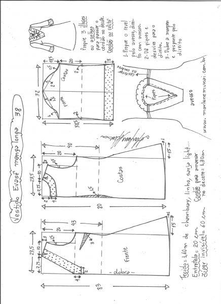 Esquema de modelagem de vestido evasê manga longa tamanho 38.