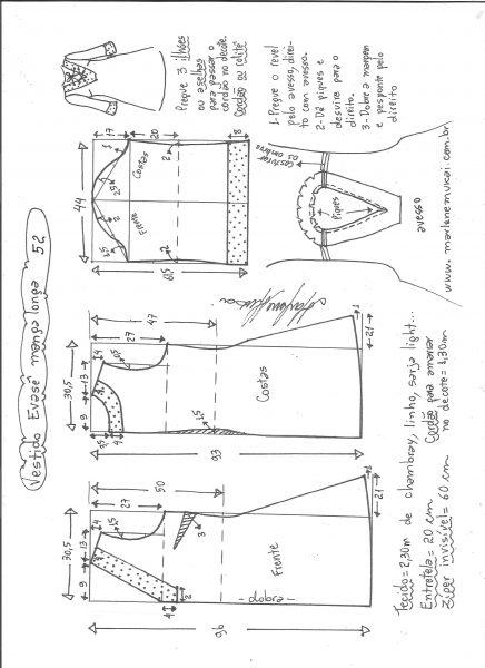 Esquema de modelagem de vestido evasê manga longa tamanho 52.
