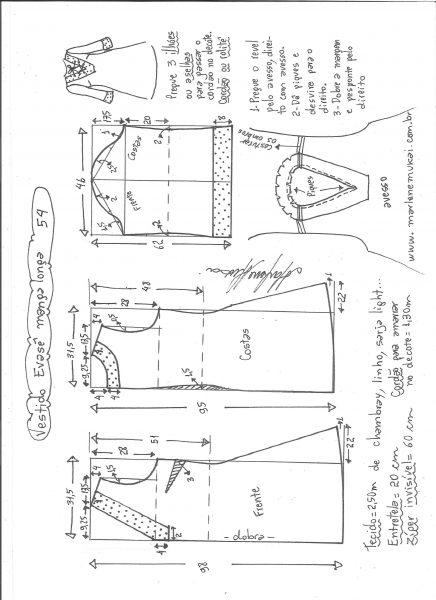 Esquema de modelagem de vestido evasê manga longa tamanho 54.