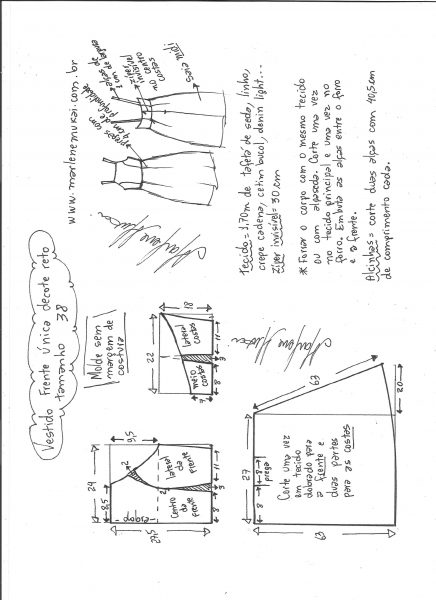 Esquema de modelagem de vestido frente única e decote reto tamanho 38.