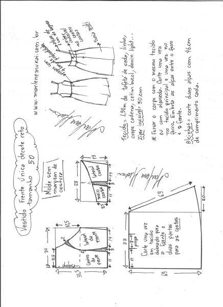Esquema de modelagem de vestido frente única e decote reto tamanho 50.