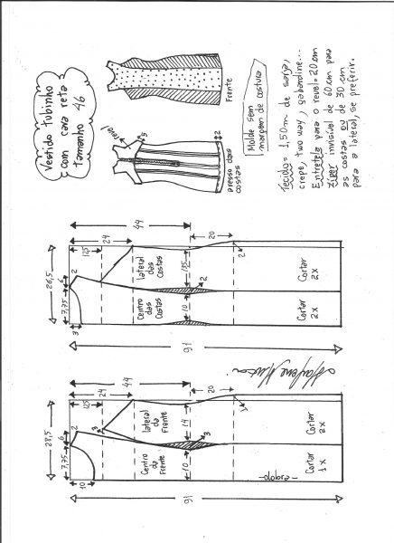 Esquema de modelagem de vestido tubinho cava reta tamanho 46.