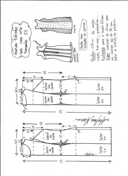 Esquema de modelagem de vestido tubinho cava reta tamanho 54.