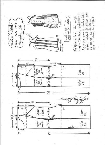 Esquema de modelagem de vestido tubinho cava reta tamanho 56.