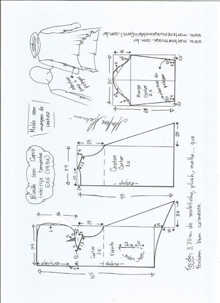 Esquema de modelagem de blusão com capuz tamanho EXG.