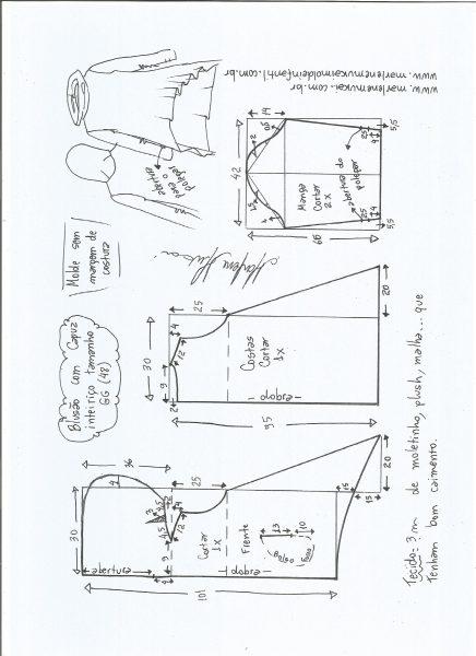 Esquema de modelagem de blusão com capuz tamanho GG.