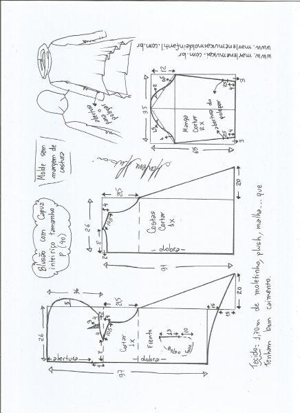 Esquema de modelagem de blusão com capuz tamanho P.