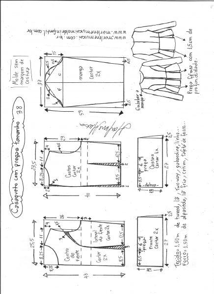 Esquema de modelagem de casaqueto com pregas tamanho 38.