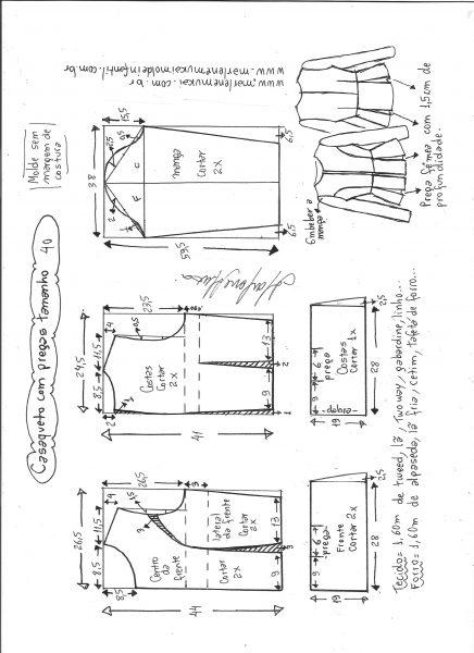 Esquema de modelagem de casaqueto com pregas tamanho 40.