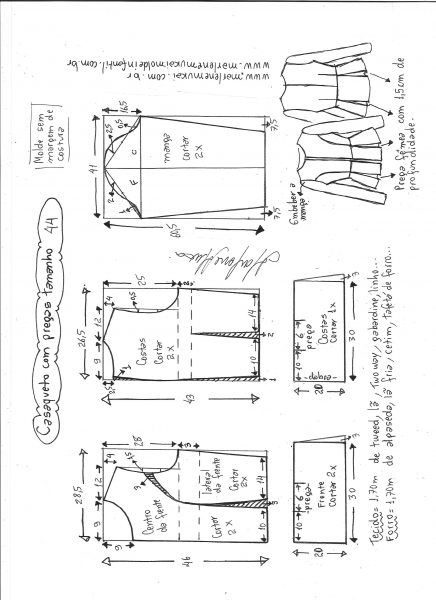 Esquema de modelagem de casaqueto com pregas tamanho 44.