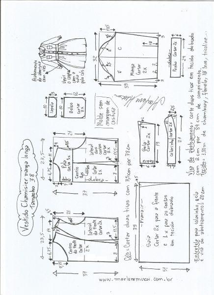 Esquema de modelagem  vestido chamesier manga longa saia franzida tamanho 38.