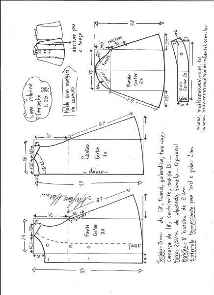 Esquema de modelagem de Capa pelerine tamanho EGG.