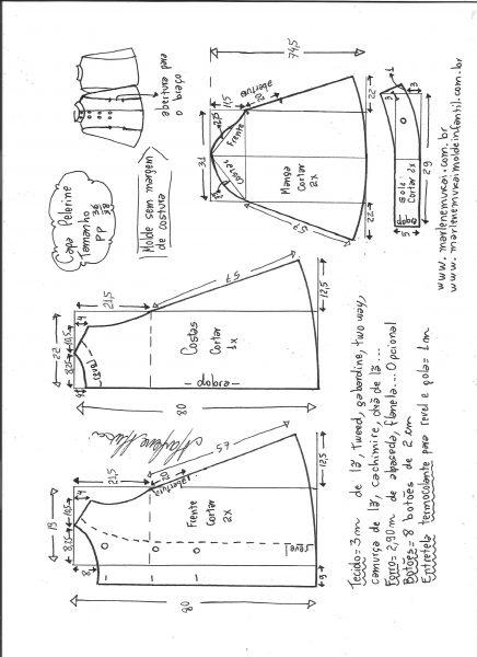 Esquema de modelagem de Capa pelerine tamanho PP.