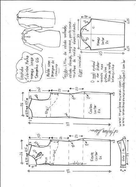 Esquema de modelagem de vestido tubinho malha manga longa tamanho GG.