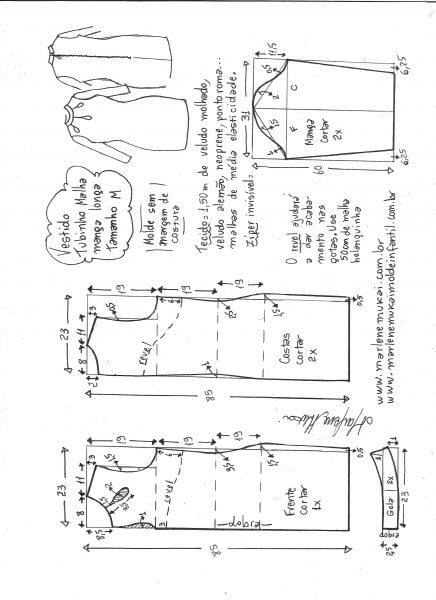 Esquema de modelagem de vestido tubinho malha manga longa tamanho M.